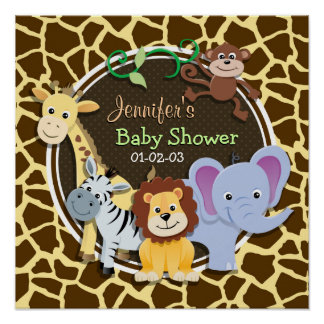 Jungle Animals on Brown Giraffe Animal Print