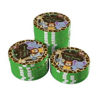 Jungle Animals on Brown Giraffe Animal Print Poker Chips