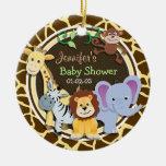 Jungle Animals on Brown Giraffe Animal Print Round Ceramic Decoration