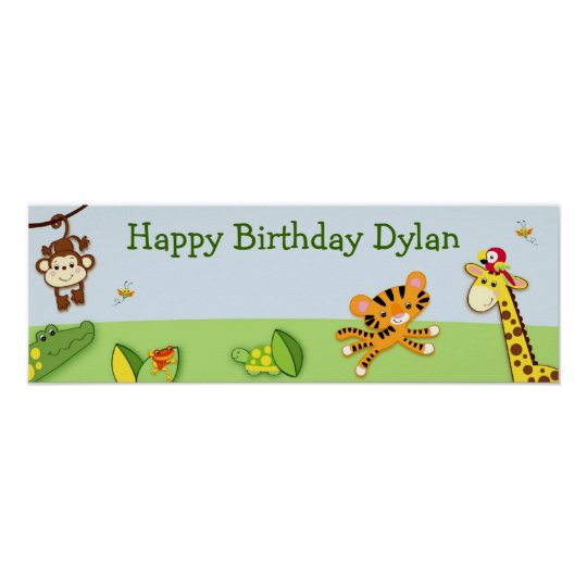 Jungle Animals Personalised Birthday Banner Poster