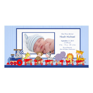 Jungle Animals Train Baby Boy Birth Annoucement Customized Photo Card