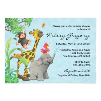 Jungle Babies Baby Shower Invitations │ Blue