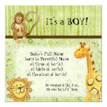 Jungle Babies, Boy Birth Announcement 13 Cm X 13 Cm Square Invitation Card