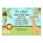 Jungle Babies - Boy Birth Announcement 13 Cm X 18 Cm Invitation Card