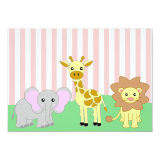 Jungle Baby Animals Pink Baby Shower Invitations