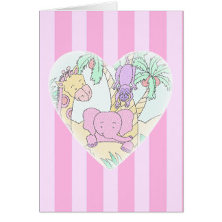 Jungle Baby Heart Blessings- girl Card