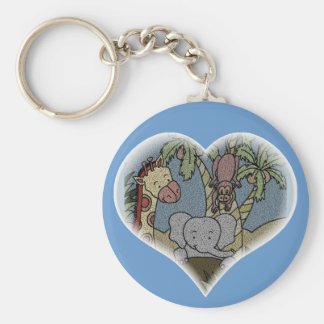 Jungle Baby Heart Key Chains