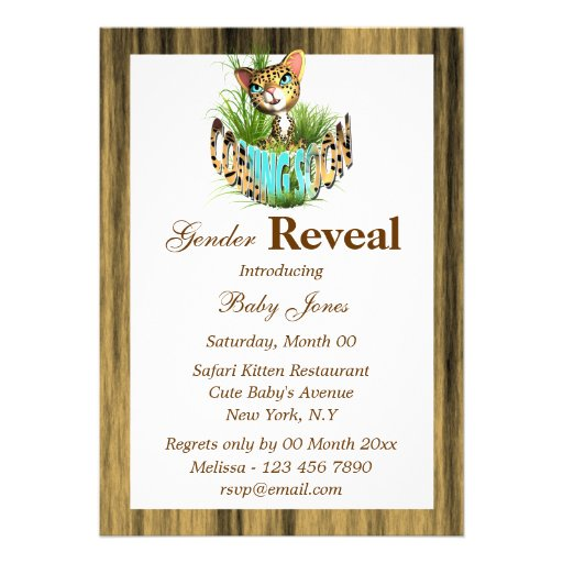 Jungle baby reveal shower PERSONALIZE Custom Announcements