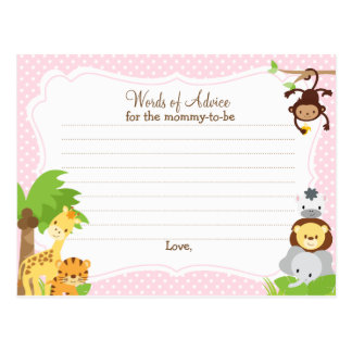 Jungle Baby Shower Advice card for the mom to be Postcard