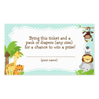 Jungle Baby Shower Diaper Raffle ticket blue Pack Of Standard Business Cards