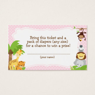 Jungle Baby Shower Diaper Raffle ticket pink