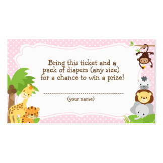 Jungle Baby Shower Diaper Raffle ticket pink Pack Of Standard Business Cards