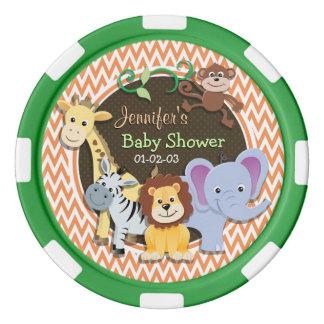 Jungle Baby Shower; Orange and White Chevron Poker Chips