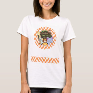 Jungle Baby Shower; Orange and White Chevron T-Shirt