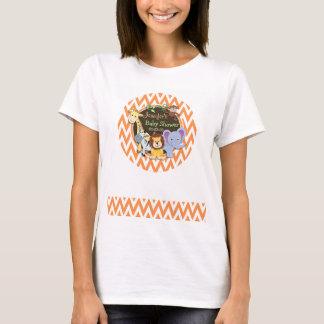Jungle Baby Shower; Orange and White Chevron T-Shirt