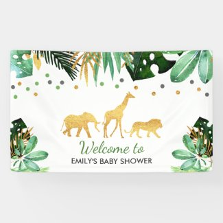 Jungle Baby Shower Party Banner Tropical Shower