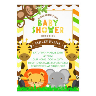 JUNGLE BABY SHOWER ZOO ANIMALS BABY INVITE