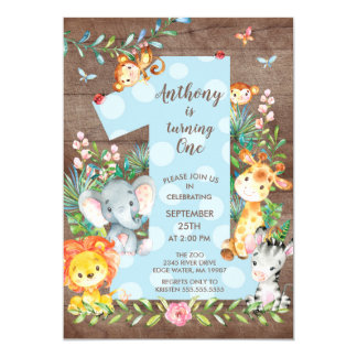 Jungle Big One Boys Birthday Invitation