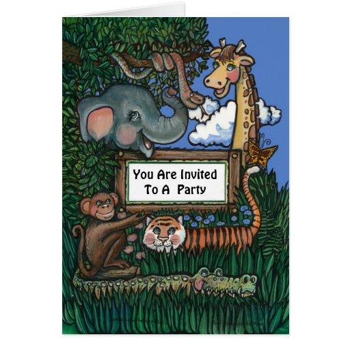 Jungle Birthday Invitation Greeting Card