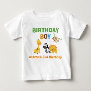 Jungle Birthday Tshirt Toddler Baby Kid Safari