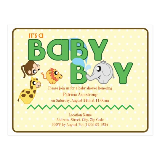Jungle Boy Baby Shower Postcard Invite