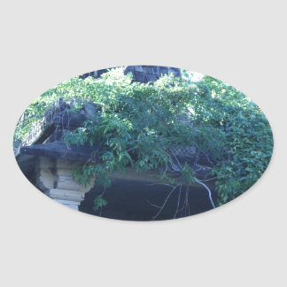 Jungle Building Oval Sticker