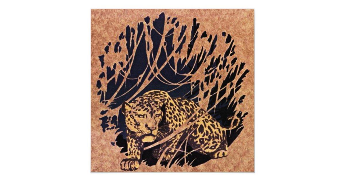 Jungle Cat Themed Safari Birthday Party Invitation