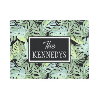 Jungle Floral Pattern | Add Your Name Doormat
