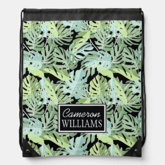 Jungle Floral Pattern | Add Your Name Drawstring Bag