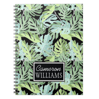 Jungle Floral Pattern | Add Your Name Spiral Note Book
