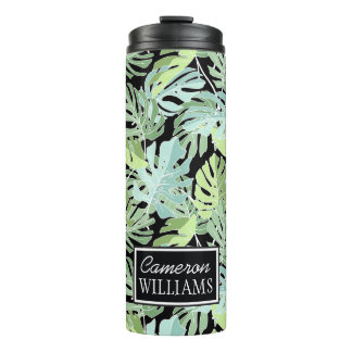 Jungle Floral Pattern | Add Your Name Thermal Tumbler