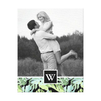 Jungle Floral Pattern | Add Your Photo & Initial Canvas Print