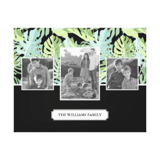 Jungle Floral Pattern | Family Photos & Text Canvas Print