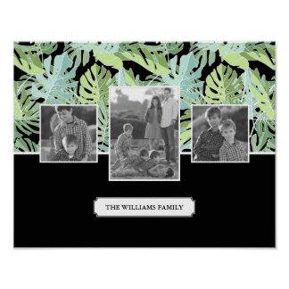Jungle Floral Pattern | Family Photos & Text Poster