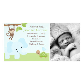 """Jungle Friends""  Birth Announcements Customized Photo Card"