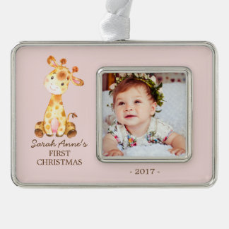 Jungle Giraffe  Babys 1st Christmas Photo Ornament