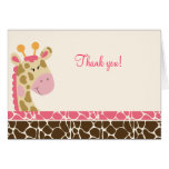 Jungle Giraffe (Pink) Folded Thank you notes Greeting Card