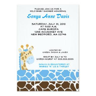 Jungle Giraffe Print (Blue) Baby Shower 5x7 Invite