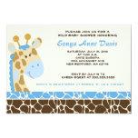 "Jungle Giraffe Print (Blue) Baby Shower 5x7 Invite 5"" X 7"" Invitation Card"