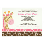 "Jungle Giraffe Print (Pink) Baby Shower 5x7 Invite 5"" X 7"" Invitation Card"