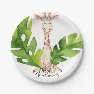 Jungle Giraffe Watercolor Baby Shower Party Paper Plate