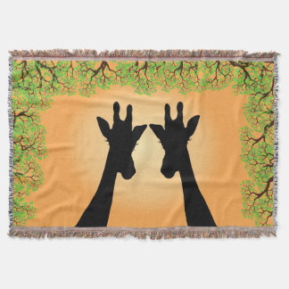 Jungle Giraffes Throw Blanket
