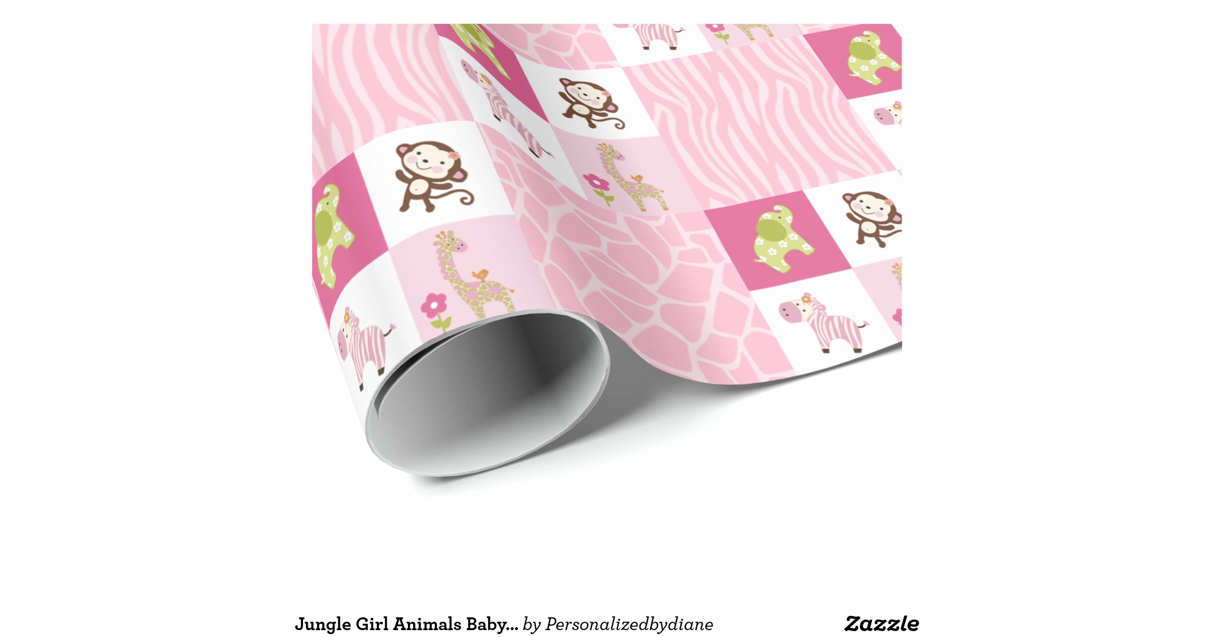 Gift Wrapped Baby Gifts Uk : Jungle girl animals baby shower gift wrap wrapping paper