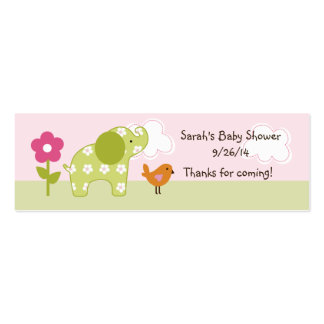 Jungle Girl/Jungle Jill Elephant Favor Tag/Card Pack Of Skinny Business Cards