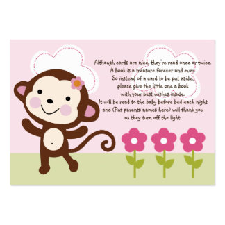 Jungle Girl/Jungle Jill Monkey Favor Tag/Card Pack Of Chubby Business Cards