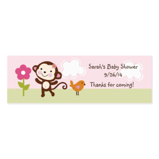 Jungle Girl/Jungle Jill Monkey Favor Tag/Card Pack Of Skinny Business Cards
