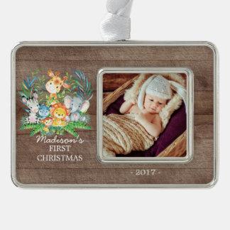 Jungle Girls Baby's 1st Christmas Photo Ornament