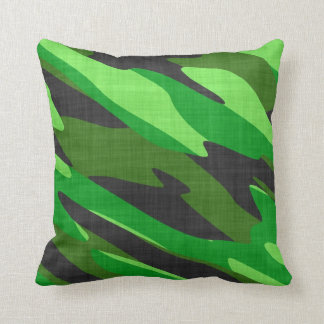 jungle green army camouflage textured cushion