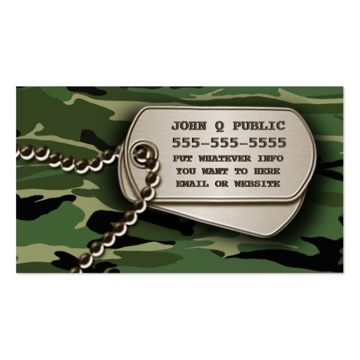 Jungle green camo dog tags business card zazzle for Dog tag business cards
