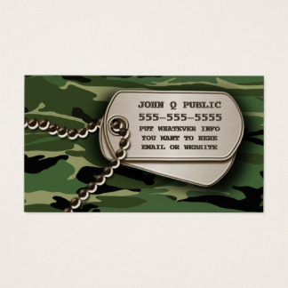 Jungle Green Camo Dog Tags Business Card